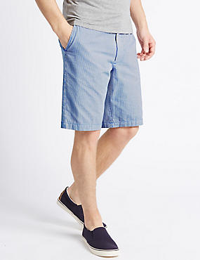 Pure Cotton Striped Shorts, NAVY MIX, catlanding