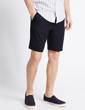 Linen Rich Shorts with Pocket, NAVY, catlanding