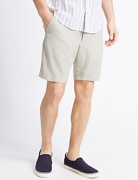 Linen Rich Shorts with Pocket, STONE, catlanding