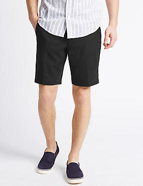 Linen Rich Shorts with Pocket, BLACK, catlanding