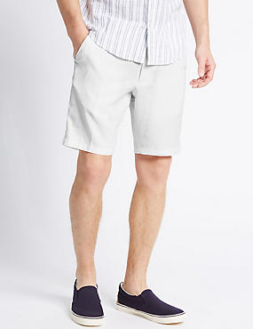 Linen Rich Shorts with Pocket, WHITE, catlanding