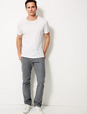 Regular Fit Stretch Jeans, GREY, catlanding