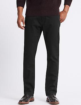 Stretch-Jeans mit normaler Passform, SCHWARZ, catlanding
