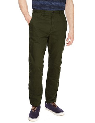 Straight Fit Washed Look Stretch Chinos, KHAKI, catlanding