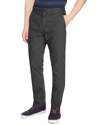 Straight Fit Washed Look Stretch Chinos, STEEL, catlanding