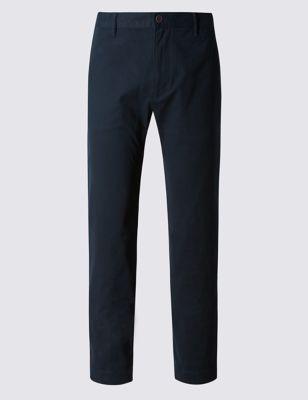 Хлопковые брюки чинос прямого кроя с добавлением стретчевого волокна M&S Collection T171762M