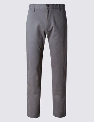 Хлопковые брюки чинос прямого кроя с добавлением стретчевого волокна