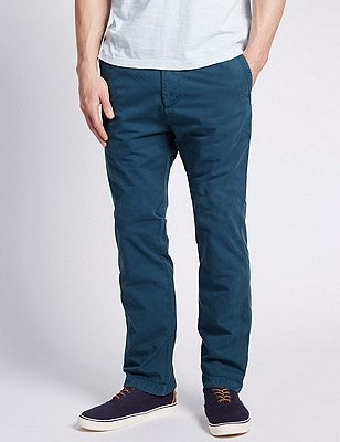 Pure Cotton Straight Fit Chinos, BRIGHT BLUE, catlanding