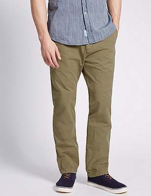 Pure Cotton Straight Fit Chinos, LIGHT KHAKI, catlanding