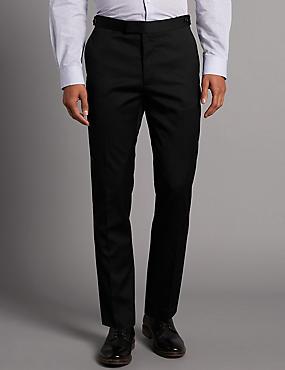 Wool Blend Slim Fit Flat Front Chinos, BLACK, catlanding