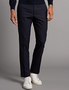 Flat Front Chinos with Buttonsafe™, NAVY, catlanding