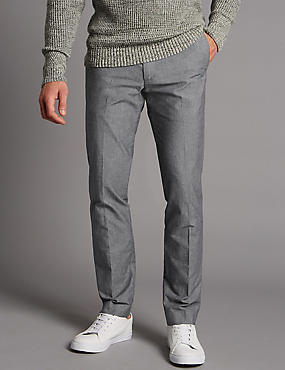 Slim Fit Pure Cotton Chinos with Stretch, GREY, catlanding