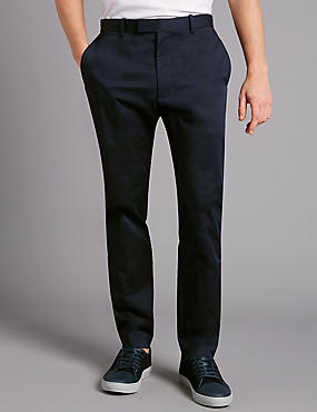 Slim Fit Sateen Rich Chinos, NAVY, catlanding