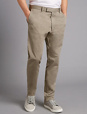 Slim Fit Cotton Rich Chinos, STONE, catlanding