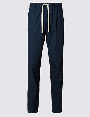 Pantalón deportivo playero 100% algodón, AZULÓN, catlanding