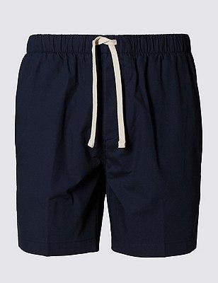 Pantalón corto playero ajustado 100% algodón, AZULÓN, catlanding