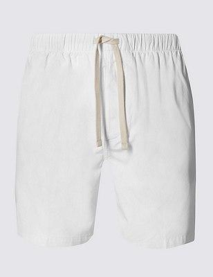 Pantalón corto playero ajustado 100% algodón, BLANCO, catlanding