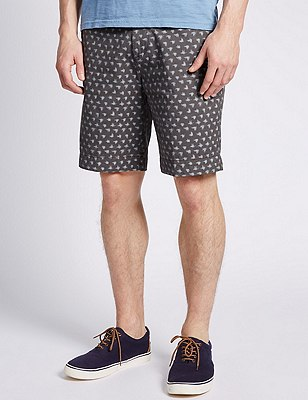 Pure Cotton Ikat Print Chino Shorts, CHARCOAL, catlanding