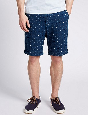 Pure Cotton Double Face Dobby Chino Shorts, INDIGO, catlanding