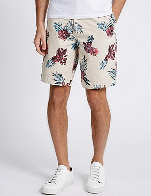 Pure Cotton Floral Chino Shorts, STONE MIX, catlanding