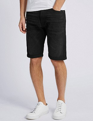 Rinse Wash Tailored Fit Shorts, BLACK, catlanding