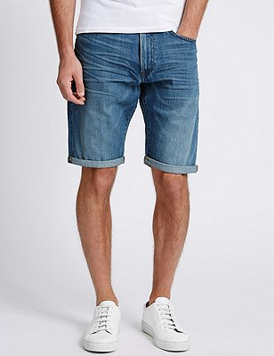 Washed Look Tailored Fit Shorts, MED BLUE DENIM, catlanding