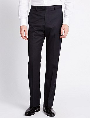 Luxury Pure Wool Flat Front Trousers, NAVY, catlanding
