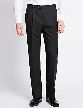 Pure Wool Single Pleat Trousers, CHARCOAL, catlanding