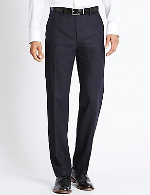 Tailored Fit Pure Wool Flat Front Trousers, , catlanding