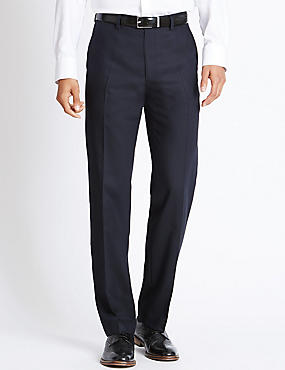 Tailored Fit Pure Wool Flat Front Trousers, NAVY, catlanding