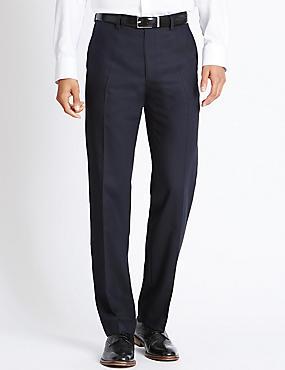 Pantalon sans pinces coupe ajustée 100% laine, BLEU MARINE, catlanding