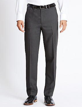 Tailored Fit Pure Wool Flat Front Trousers, GREY, catlanding