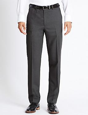 Pantalon sans pinces coupe ajustée 100% laine, GRIS, catlanding