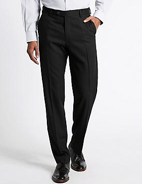 Tailored Fit Pure Wool Flat Front Trousers, DARK CHARCOAL, catlanding