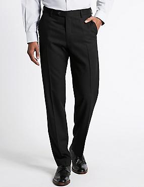 Pantalon sans pinces 100% laine, doté de la technologie Supercrease™, CHARBON FONCÉ, catlanding