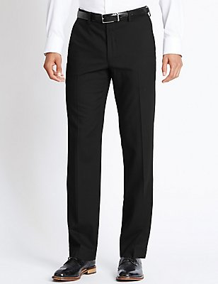 Pure Wool Supercrease™ Flat Front Trousers, BLACK, catlanding