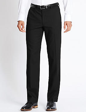Tailored Fit Pure Wool Flat Front Trousers, BLACK, catlanding