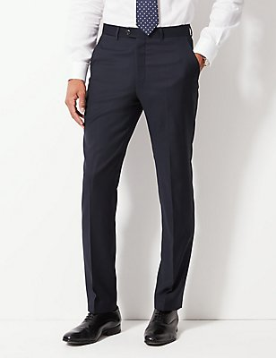 Tailored Fit Pure Wool Textured Trousers, NAVY, catlanding