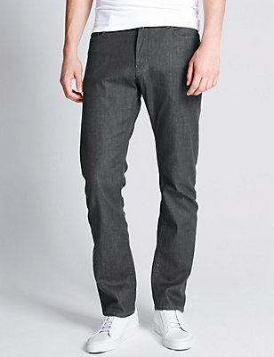 Straight Fit Stretch Jeans, CHARCOAL, catlanding