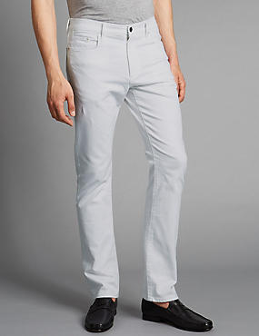 Straight Fit Stretch Jeans, WHITE MIX, catlanding
