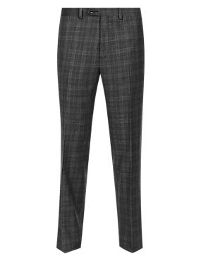Charcoal Mix Pure Wool Slim Fit Supercrease™ Checked Flat Front Trousers