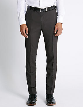 Slim Fit Flat Front Trousers, CHARCOAL, catlanding