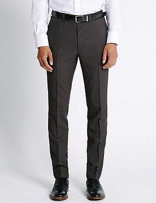 Slim Fit Flat Front Trousers, CHARCOAL, catlanding