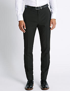 Slim Fit Flat Front Trousers, BLACK, catlanding