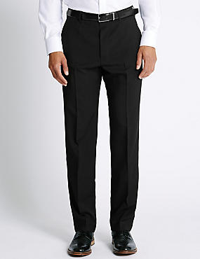 Big & Tall Regular Fit Flat Front Trousers, BLACK, catlanding