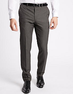 Slim Fit Flat Front Trousers, GREY, catlanding