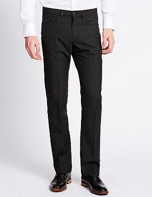 Slim Fit 5 Pocket  Flat Front Trousers, CHARCOAL, catlanding