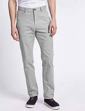 Cotton Rich Straight Fit Trousers with Buttonsafe™, LIGHT GREY, catlanding