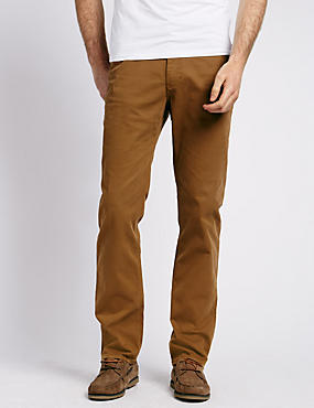 Cotton Rich Straight Fit Trousers with Buttonsafe™, TOBACCO, catlanding