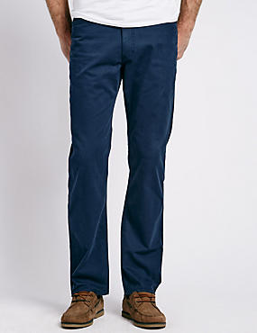 Cotton Rich Straight Fit Trousers with Buttonsafe™, INDIGO, catlanding